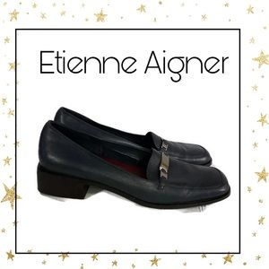 Etienne Aigner Women's Navy Leather Loafers 10